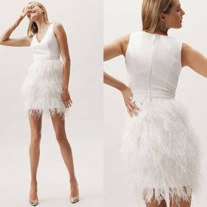 BHLDN Ivory White Anthem Dress bridal feathered